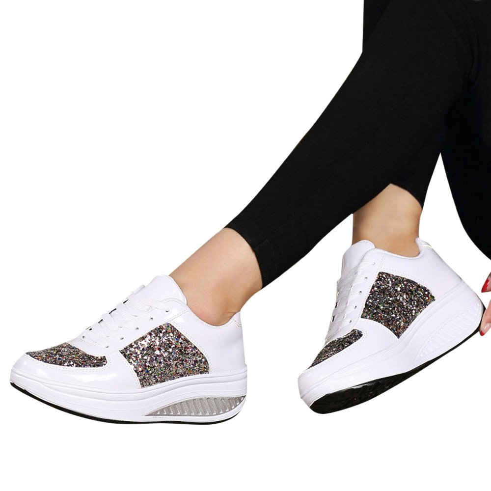 Sneakers For Women,Clearance Sale!!Farjing Wedges Sneakers Sequins Shake Shoes Fashion Girls Sport Shoes(US:5.5,White)