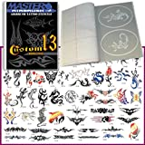 Master Airbrush® Brand Airbrush Tattoo Stencils Set Book #13 Reuseable Tattoo Template Set, Book Contains 53 Unique Stencil Designs, All Patterns Come on High Quality Vinyl Sheets with a Self Adhesive Backing.