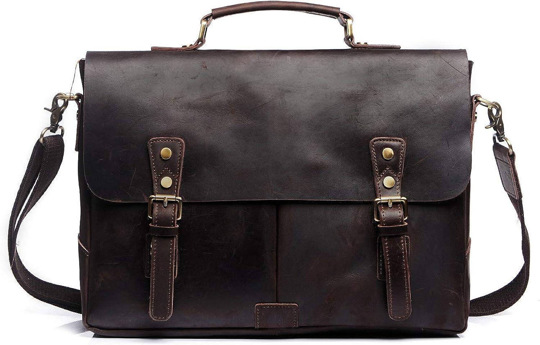 S-ZONE Men s Leather Briefcase 15.6 Inch Laptop Messenger Shoulder Crossbody Bag