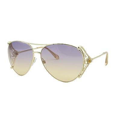 669c0db0c4 2018 Roberto Cavalli Fucecchio RC-1057 Women Swarovski   Gemstone Aviator  Sunglasses
