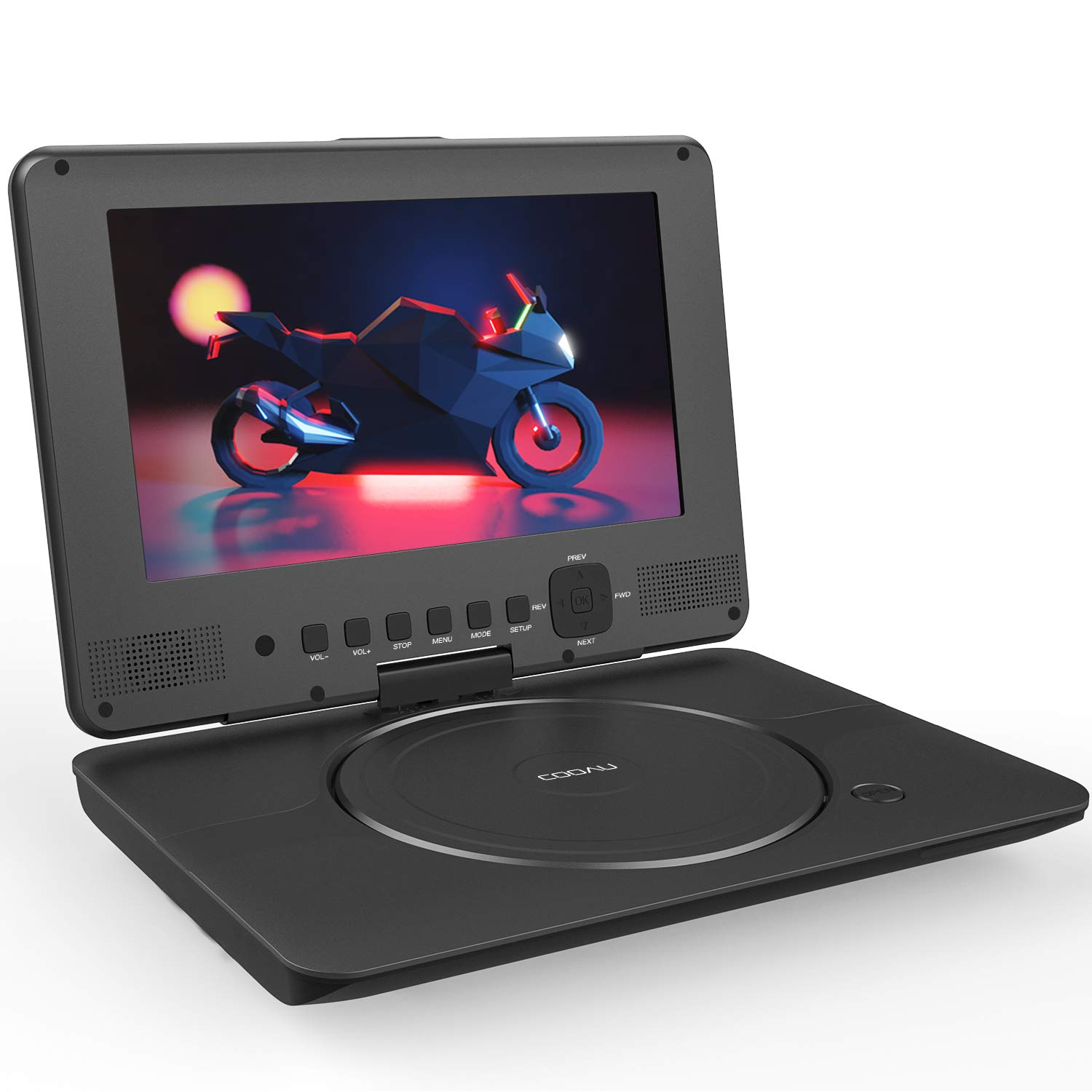 COOAU Portable DVD Player Upgraded 12'' with HD Swivel Screen, Support All Region & Full DVD Format Discs, 1080P Video Files, Front Control Button and IR Signal, Battery Indicator, Classic Black