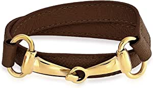 Fashion Orange Brown Black Leather Equestrian Wrap Horse Snaffle Bit Bracelet for Women Teen 14K Gold Plated Stainless