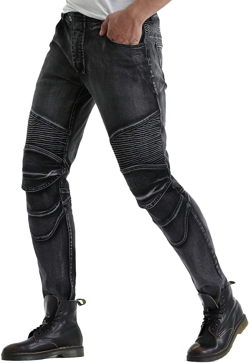 S=28 Biker Jeans for Men Motorcycle Motorbike Riding Pants With Upgrade Knee Hip Pads