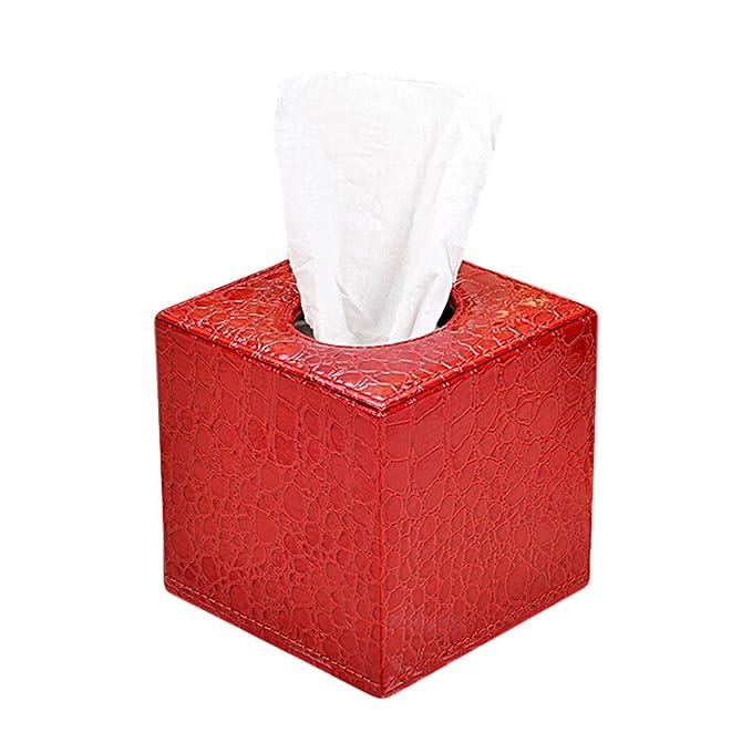 Auto motivi Size 13.5*13.5*13.5/cm Lumanuby 1/X Rosso Cubo coccodrillo trifoglio Box Tissue Box in pelle PU per ristorante Ufficio Casa