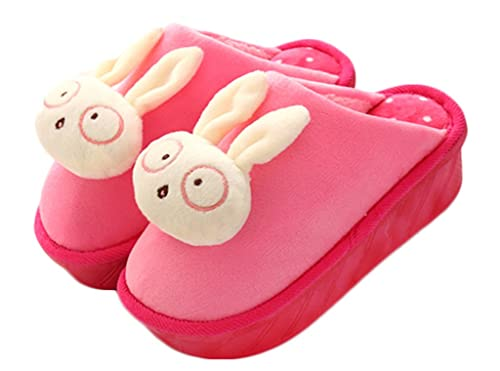 CNYYWISHSTYLE Nuevos antideslizantes invierno lindo zapatillas rosas con la muñeca conejo de felpa superior para señoras de las mujeres, plataforma de 5 cm ...