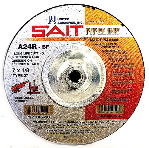 SAIT 22130 Type 27 4-1/2-Inch x 1/8-Inch x 5/8-11 Pipeline Long Life Specialty Grinding Wheels, 10-Pack
