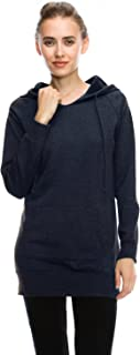 product image for Jubilee Couture Womens Basic Fleece Hoodie Tunic Top Hooded Pullover Sweatshirt w Front Pocket