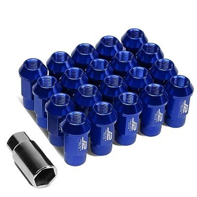J2 Engineering LN-T7-008-15-BL Blue 7075 Aluminum M12X1.5 20Pcs L: 44mm Open End Lug Nut w/Socket Adapter: Automotive