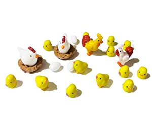 DoTebpa 22Pcs Miniature Family Chicken,Cock,Hen,Egg,Chicken Nest Ornament Micro Landscape Fairy Garden Decor