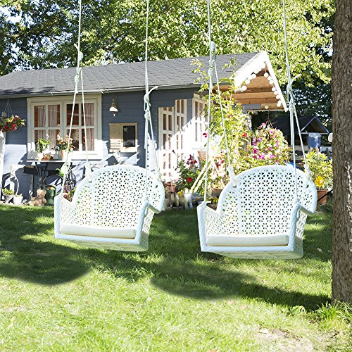 Pack of 2 Wicker Porch Swing Chair for Children or Adult, Hanging Rope Chair Swing Seat, Indoor and Outdoor Playground Swing Set Accessories, UV Resistant (White) (Wicker Porch Chairs)