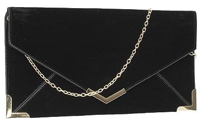 c37317a6bc8 Fallabella Suede Velvet Slim Envelope Womens Clutch Bag Ladies Clutch Purse  Evening Bag - Black