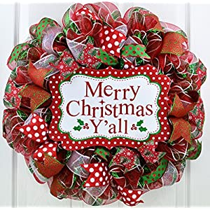 Merry Christmas Wreath | Merry Christmas Y'all | Mesh Front Door Wreath | Red Green White 57