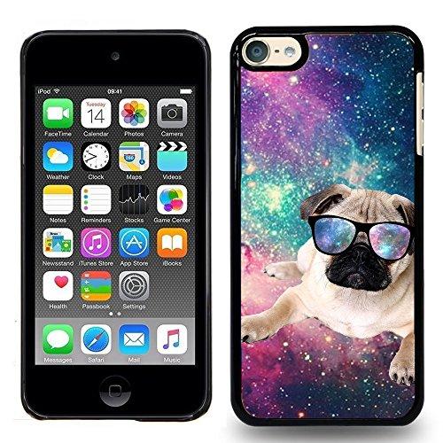 (iPod Touch 5 / iPod Touch 6, Touch 5 / Touch 6 Case - Hipster Flying Pug Dog - Designer Plastic Snap On Case)