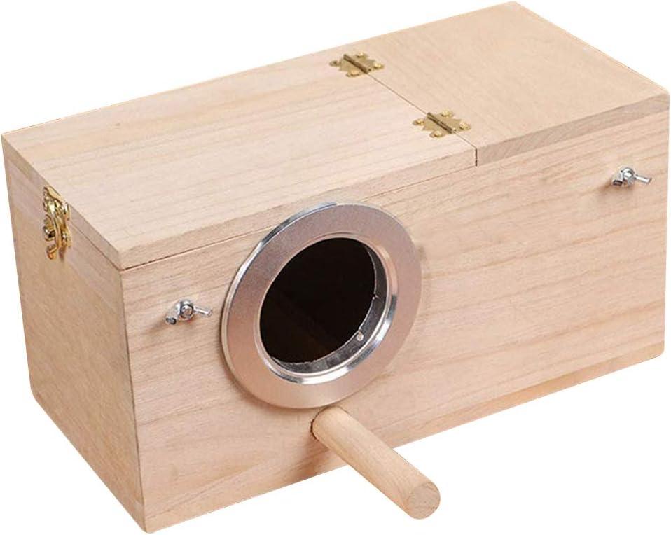 Hurricom Pet Wood Cage,Parakeet Nesting Box, Bird Nest Breeding Box Cage Wood House for Finch Lovebirds Cockatiel Budgie Conure Parrot