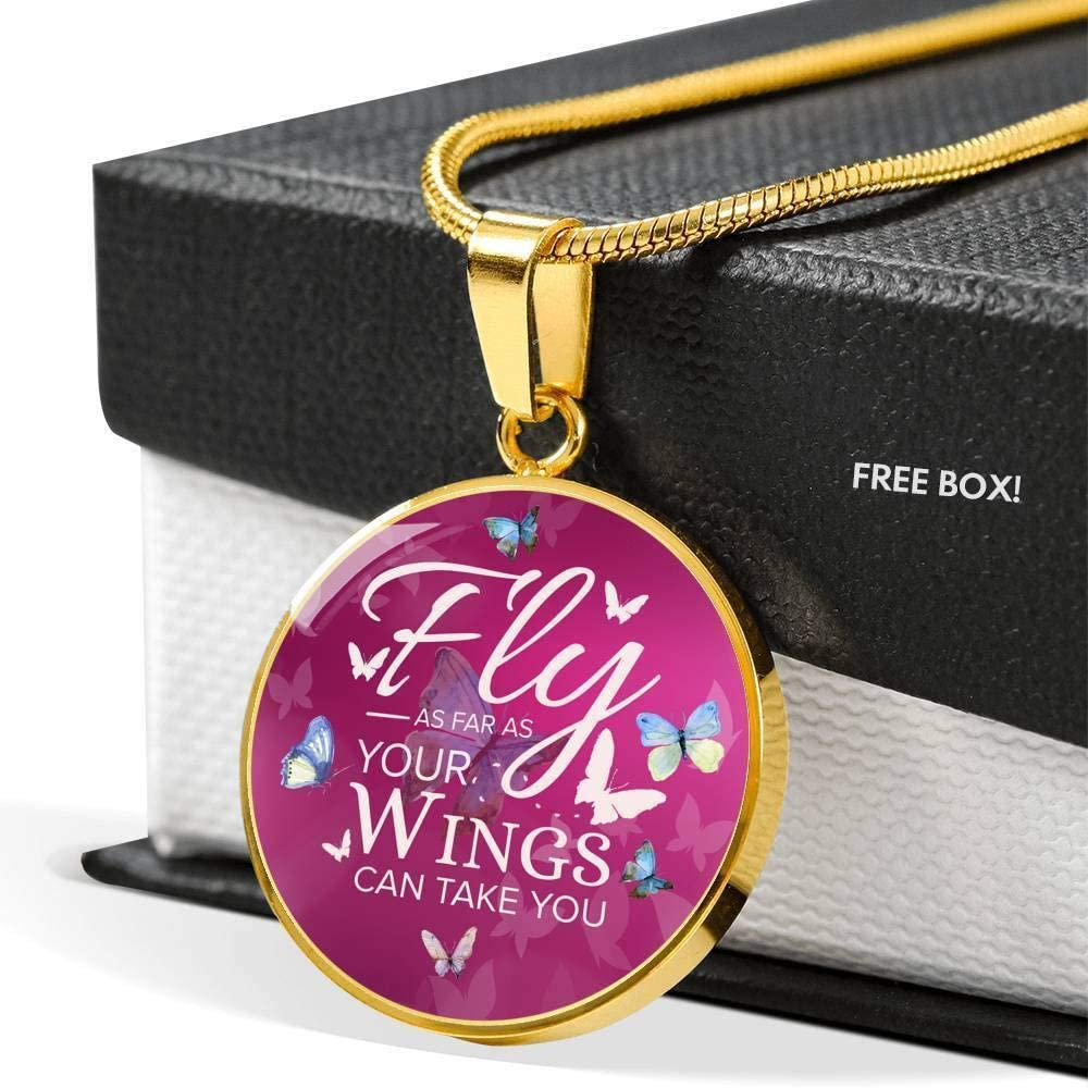 Fly As Far As Your Wings Can Take You Butterflies Circle Pendant Necklace Stainless Steel or 18k Gold 18-22