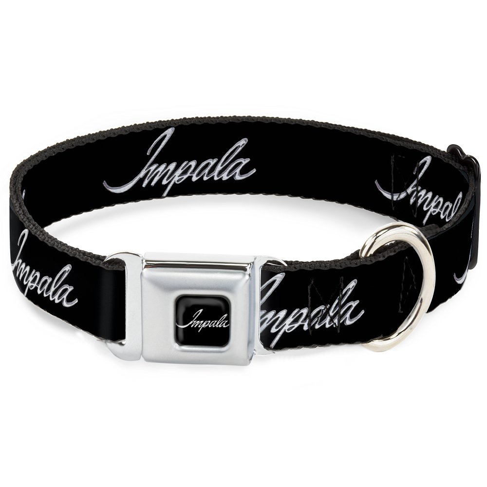 Buckle-Down DC-WCH045-WL 18-32  CHAY-1965 Chevrolet Bowtie Full color Black White  Dog Collar, Wide Large