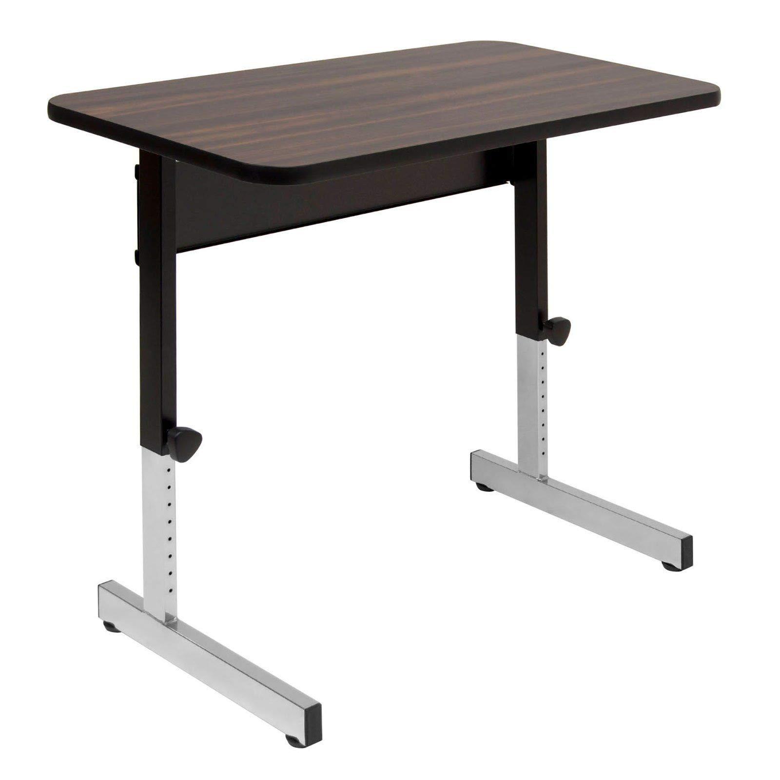 MRT SUPPLY Adapta Table 36'' x 20'' Top Manual Height Adjustable Desk, Walnut with Ebook