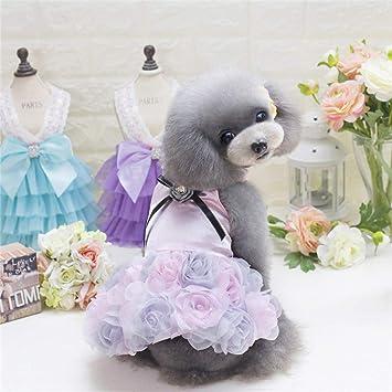 RQJOPE Haustierkleidung Hundekleidung Hund Katze Luxuri/öses Hochzeit Prinzessin Kleid Haustier Welpe Rock Kleidung Kleidung Blumen Design 5 Gr/ö/ßen verf/ügbar Weihnachts und Neujahrsgeschenke