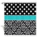 CafePress - Black Turquoise Damask - Decorative Fabric Shower Curtain