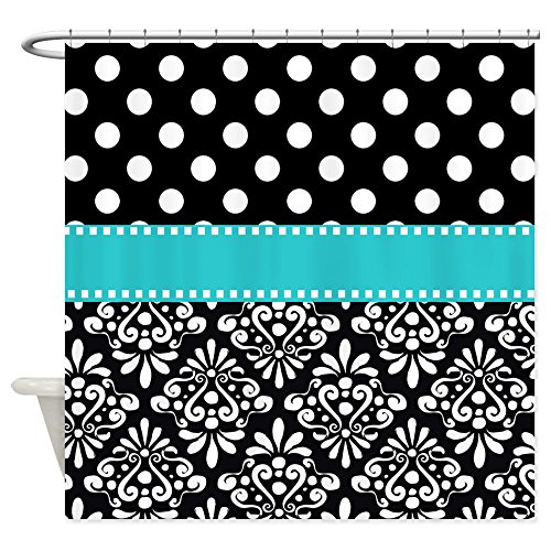 "CafePress Black Turquoise Damask Decorative Fabric Shower Curtain (69""x70"")"