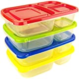 Green Direct 3-Compartment Lunch Boxes Meal Prep Containers / Food Storage Containers with Lids No BPA Plastic Bento Box, Reusable,Microwave Dishwasher Freezer Safe (Pack of 4)