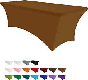 Eurmax 4Ft Rectangular Fitted Spandex Tablecloths Wedding Party Patio Table Covers Event Stretchable Tablecloth (Cocoa)