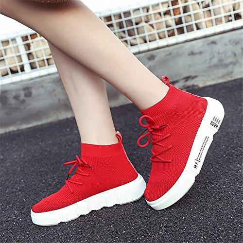 Casual Shoes New Zapatos Lace de Calzado High Elasticity Increase Up Summer Socks Height Mujer Help Athletic de Pluma Un Gruesos fUfqxwZ