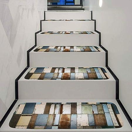 Antideslizantes para escaleras Almohadillas De La Escalera Patrón Colorido Tablón De Madera Alfombra De Escalera Casa Dormitorio Puerta Delantera Alfombra Antideslizante TZXSHO: Amazon.es: Hogar