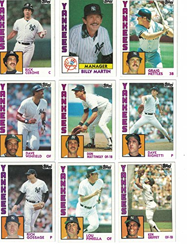 New York Yankees / Complete 1984 Topps Yankees Baseball Team Set with Don Mattingly Rookie Card -