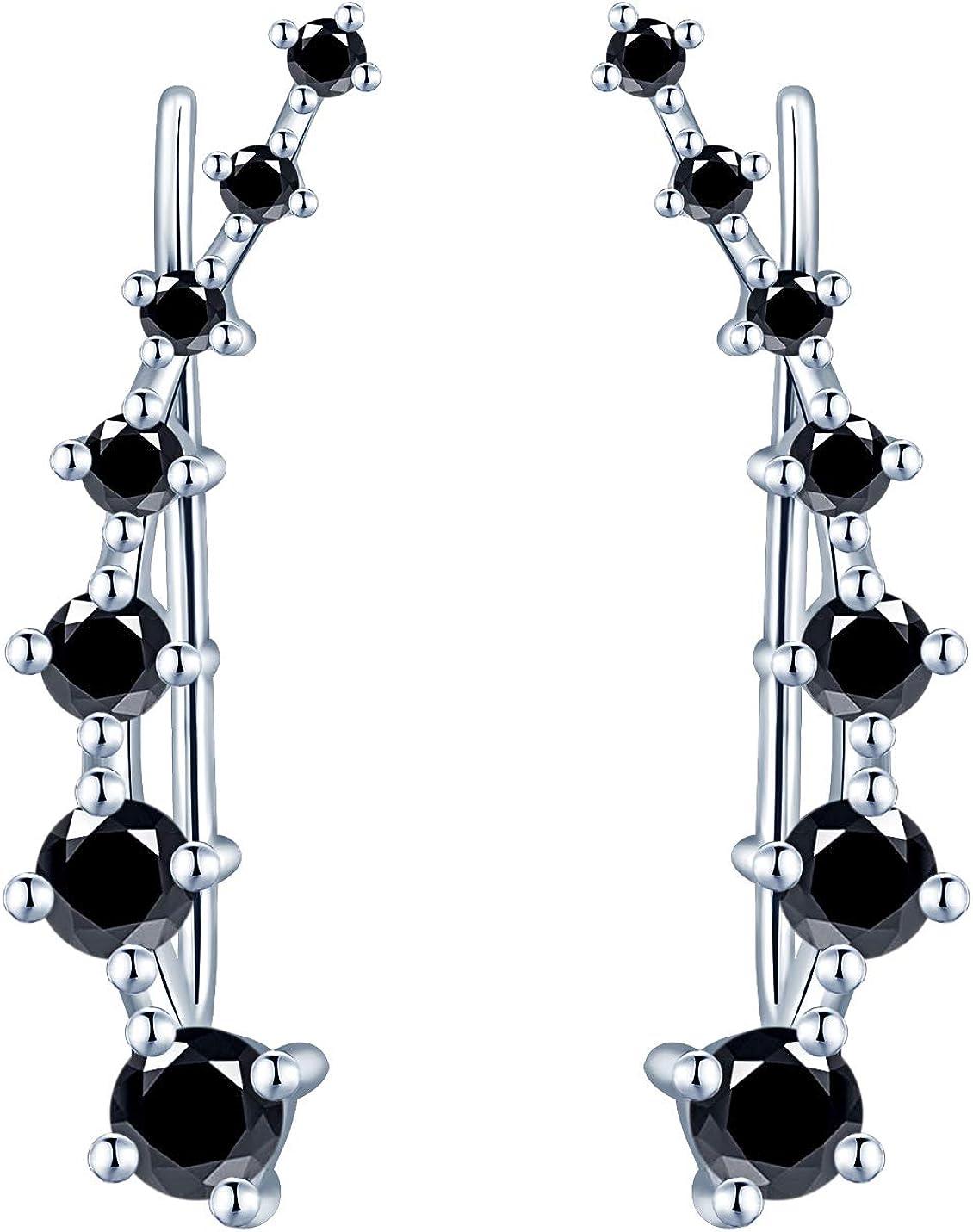 Yumilok -Pendientes Trepadores Mujer de Plata de 925 Esterlina, Pendientes de Clip de Cristal/Diamante de Imitación