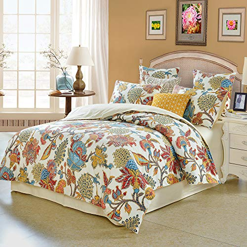 - Softta California King Size Farmhouse Shabby Flower Colorful Red Orange Luxury Bohemian Damask Floral 3Pcs(1 Duvet Cover+ 2 Pillowcases/Shams 800 Thread Count 100% Egyptian Cotton Duvet Cover Set