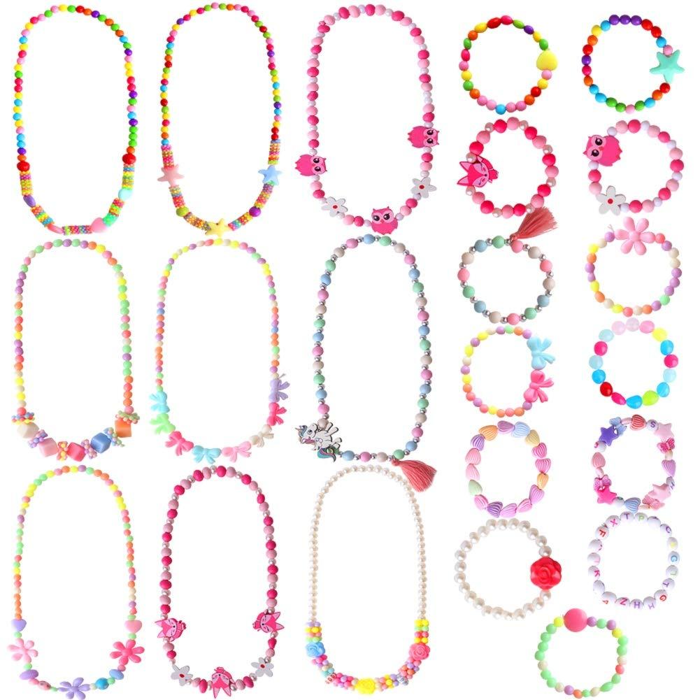 ONESING22PcsGirlsPlayJewelryToddlerCostumeJewelryPrincess Necklace Bracelet Set BeadsNecklace BraceletforKidsPlayDressUpPretendPlayJewelryKitPartyFavors by ONESING
