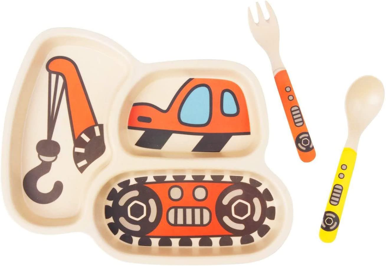 Baby Spoon and Fork 3-Piece Set Eco Friendly and Dishwasher Safe Kid Plate Set Bamboo Toddler Plates Dinnerware Dinner Dish Set Baby Feeding Spill Proof Divided Plate 1excavator