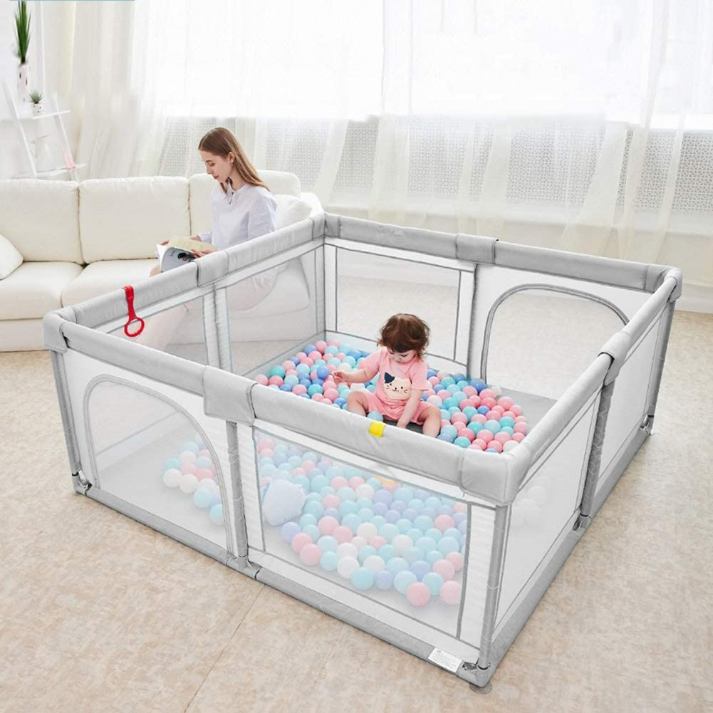 Play Yard Portable Baby Play Pens with Crawling Mat Size : 120/×160cm 70cm Height Gray Activity Centre Safety Play Yard for Indoor Outdoor Backyard