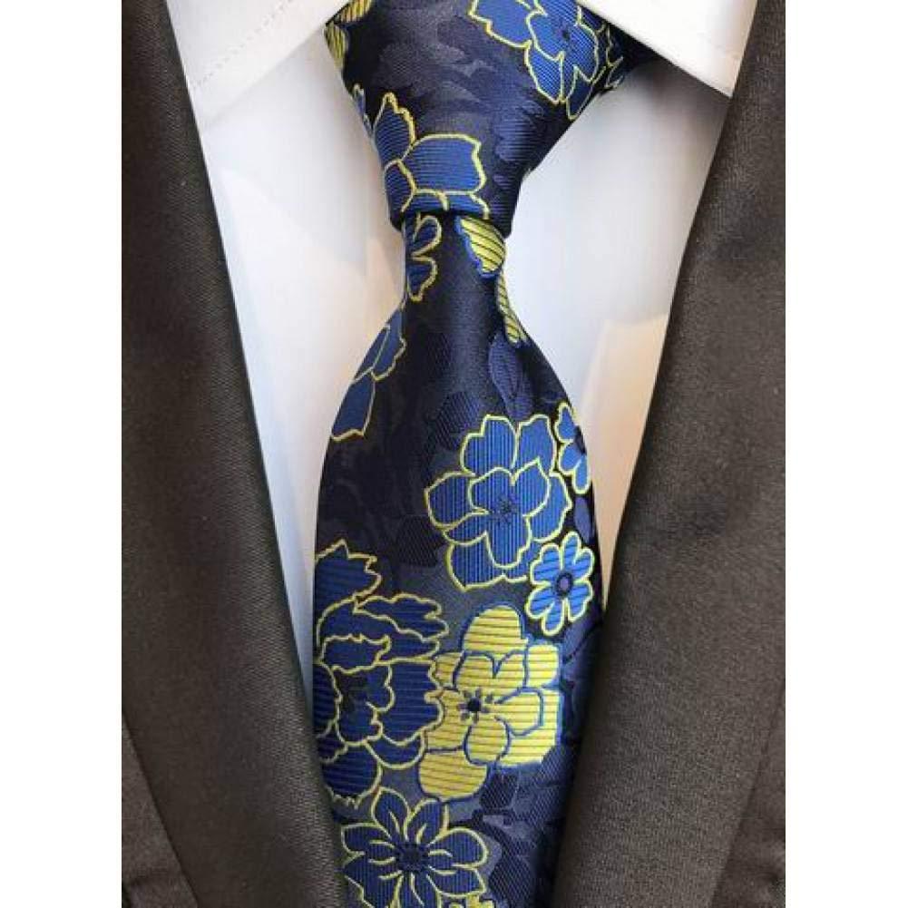 WOXHY Corbata Nuevo diseño de Paisley Azul Marino Amarillo ...