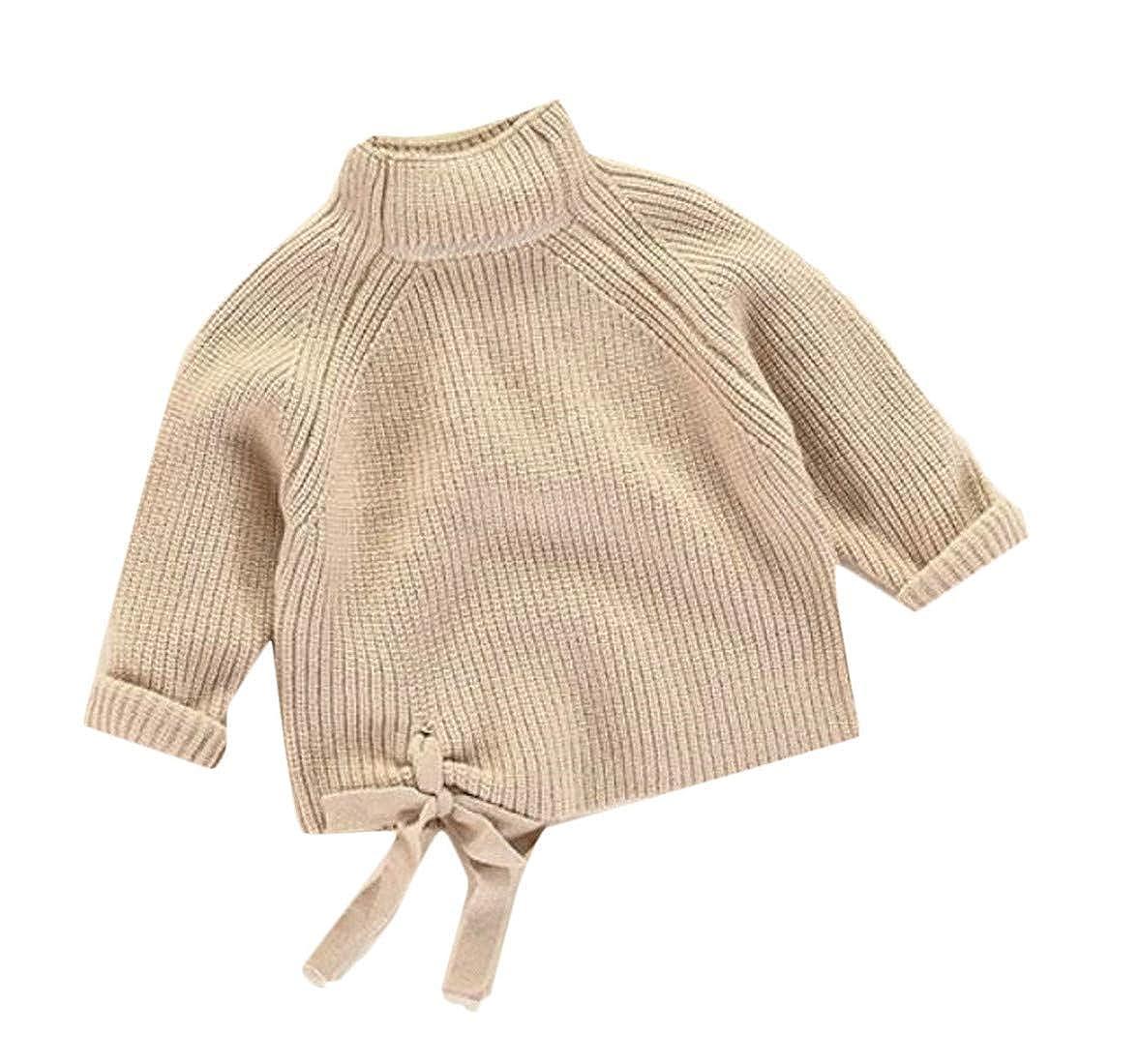 Joe Wenko Girls Bow Mock Turtle Neck Trendy Solid Knits Pullover Jumper Sweaters