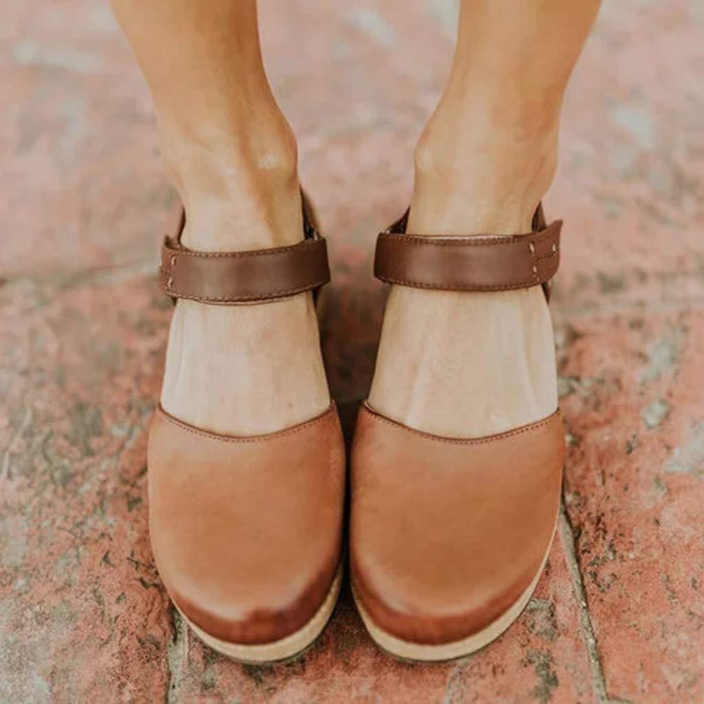 Wedges Sandals for Women Vintage Leather Wedge Sandals Closed Toe Lace Up Buckle Strap Summer Platform Sandal