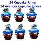 24 Captain America and the Avengers Super Hero Rings and 24 Avenger Cupcake Liners Featuring Thor, Iron Man, The Incredible Hulk, Captain America, Hawkeye, and Black Widow . Great Party Favor