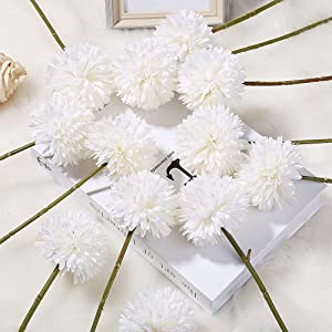 White Flowers, 12pcs Chrysanthemum Ball IPOPU Silk Flowers Artificial Flowers for Home Decor Indoor Garden Party Office Coffee House Decoration (White)