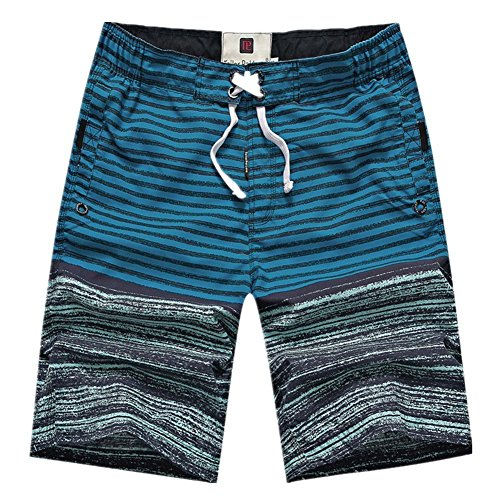 Owone Box Men's Summer Stripe Cargo Board Shorts Swim Trunks Blue XXX-Large
