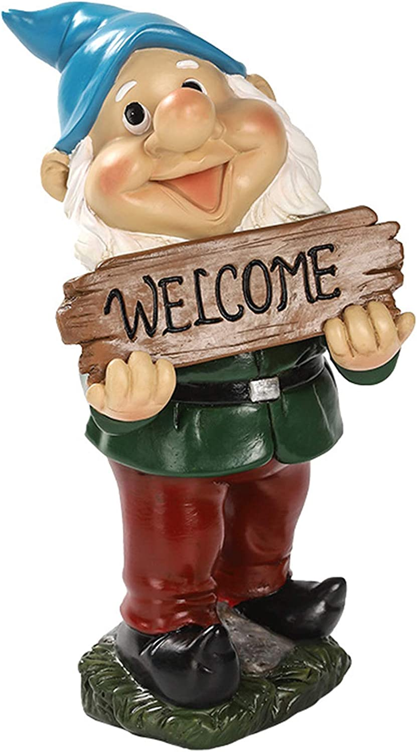 Idle Hippo Welcome Garden Gnome Statue Funny Outdoor Gnome Decorations Garden Figurines for Lawn Patio Yard Decor