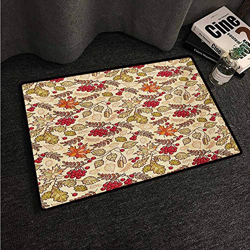 HCCJLCKS Waterproof Door mat Rowan Fall Season Themed Mixed Pattern with Maple Birch Oak Autumn Leaves and Ashberries Suitable for Outdoor and Indoor use W35 xL47 - Stair Oak Autumn