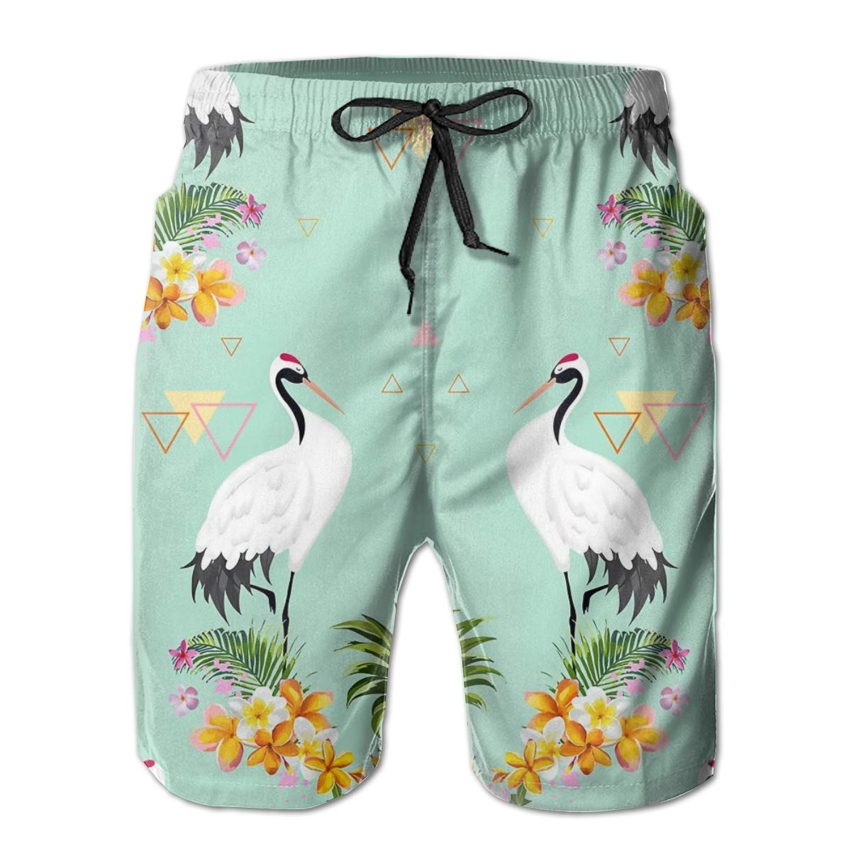 SARA NELL Mens Shorts Japanese Cranes and Flowers Quick Dry Swim Trunks Beach Board Shorts