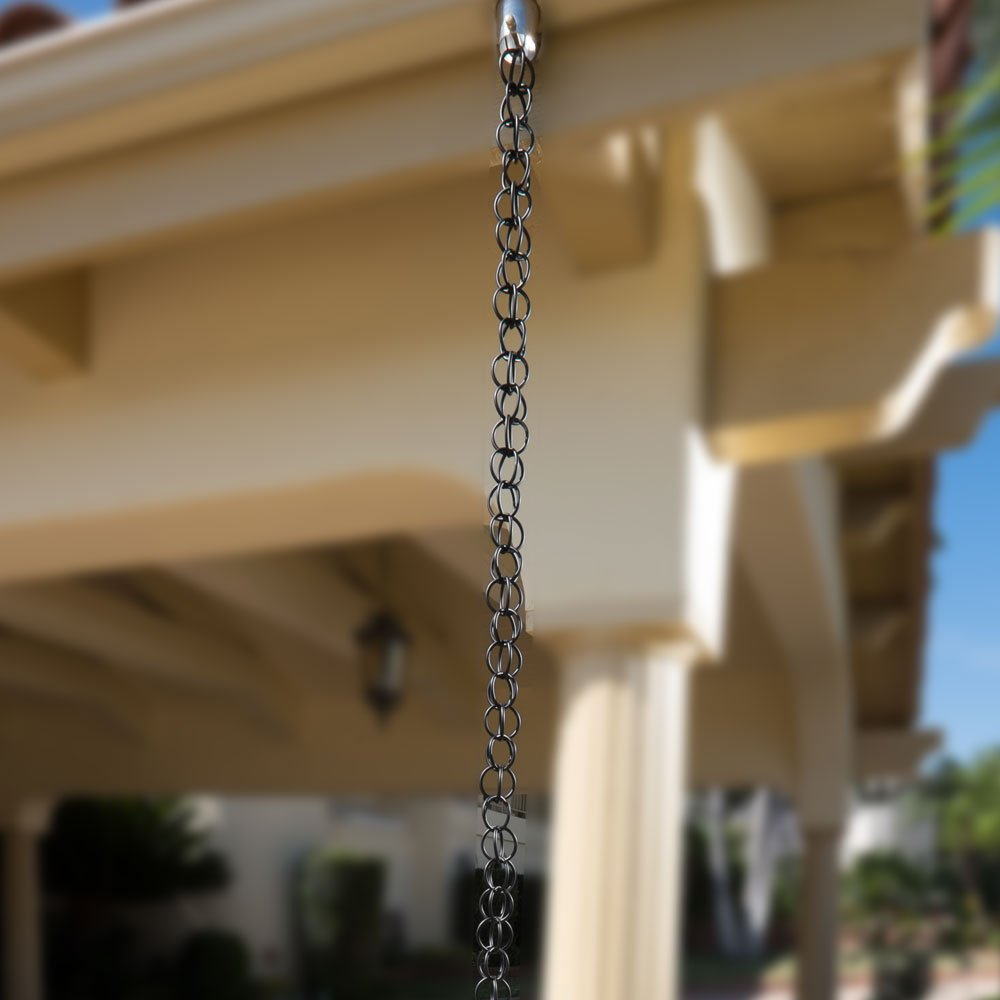 Monarch Ring Rain Chain, 8-1/2-Feet Length, Aluminum Flat Black Powder Coated