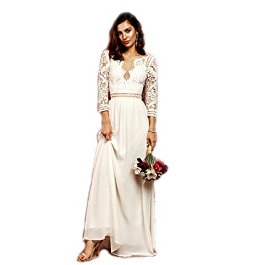 Amazoncom Crazy4bling Soieblu Ivory Crochet Maxi Dress With Cut
