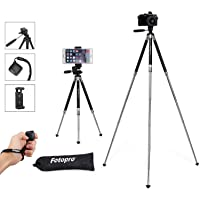 Fotopro Phone Tripod, 39.5 Inch Lightweight Travel Tripod with Bluetooth Shutter, Aluminum Compact Tripod with Phone Clip for iPhone, Samsung, Huawei
