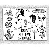 Unicorn Tapestry Wall Hanging by Ambesonne, Mysticism Occult Featured Set with Pyramids Aliens Dream-Catcher Grunge Print, Bedroom Living Room Dorm Decor, 80WX60L Inches, Black