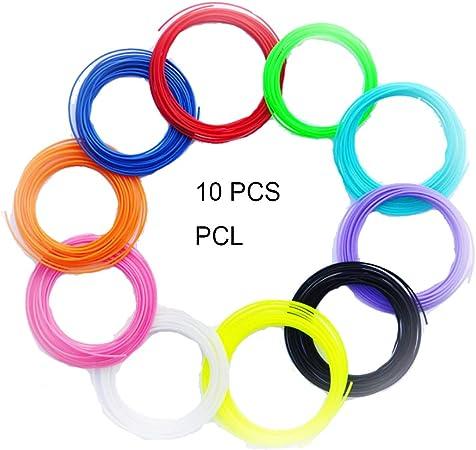 SUNLU 3D Pen Filamento 1.75mm PCL- Repuestos de lápiz 3D (10 ...