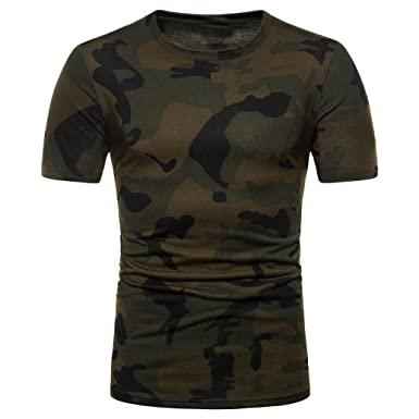 Realdo Camouflage Shirts for Men, Casual Slim Muscle Sport Fitness Tops T-Shirt(
