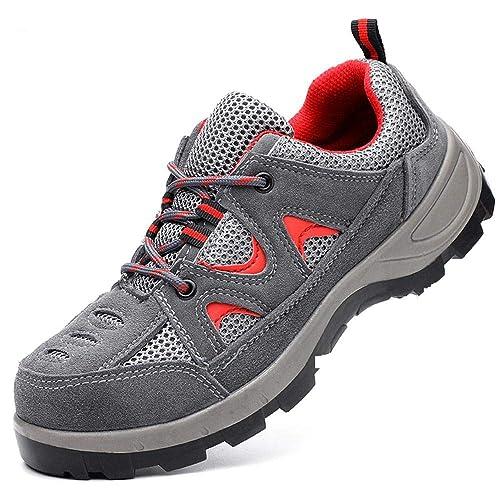 Mujer Hombre Zapatillas de Seguridad,Transpirables Comodas Ligeras Punta de Acero Zapatos de Deporte Senderismo Industria Zapatos de Trabajo: Amazon.es: ...